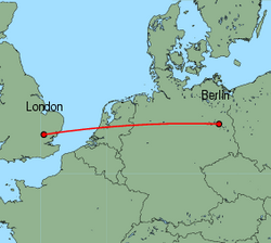 Map of route from London (Stansted) to Berlin (Schoenefeld)