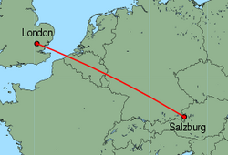 Map of route from London (Stansted) to Salzburg