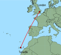 Map of route from Tenerife (Sur) to London (Stansted)