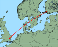 Map of route from Turku to London (Stansted)