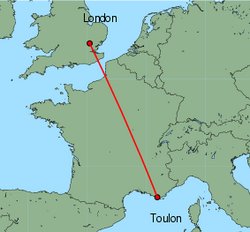 Map of route from London (Stansted) to Toulon