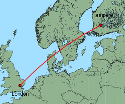 Map of route from London (Stansted) to Tampere