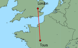 Map of route from London (Stansted) to Tours