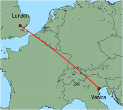 Map of route from London (Stansted) to Venice (Marco Polo)