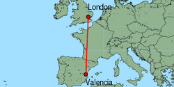 Map of route from Valencia to London(Stansted)