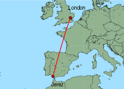 Map of route from Jerez to London (Stansted)