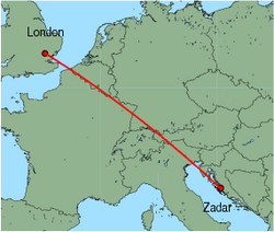 Map of route from London (Stansted) to Zadar