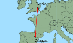Map of route from Zaragoza to London(Stansted)