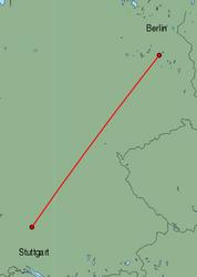 Map of route from Stuttgart to Berlin(Schoenefeld)