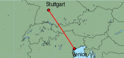 Map of route from Stuttgart to Venice (Marco Polo)