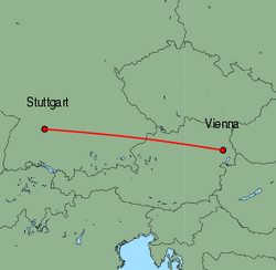 Map of route from Vienna to Stuttgart