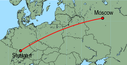 Map of route from Moscow(Vnukovo) to Stuttgart