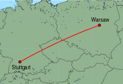 Map of route from Warsaw to Stuttgart