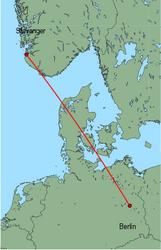 Map of route from Stavanger to Berlin(Schoenefeld)