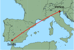 Map of route from Venice (Treviso) to Seville