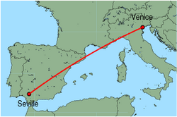 Map of route from Seville to Venice(MarcoPolo)