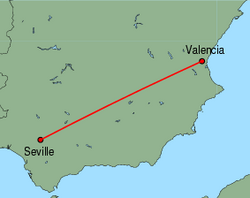 Map of route from Valencia to Seville