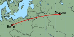 Map of route from Moscow(Vnukovo) to Berlin(Schoenefeld)