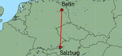 Map of route from Salzburg to Berlin(Tegel)