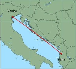 Map of route from Tirana to Venice(MarcoPolo)