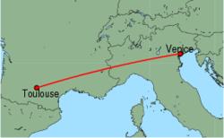 Map of route from Toulouse to Venice (Marco Polo)