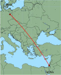 Map of route from Tel Aviv to Berlin (Tegel)