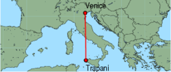 Map of route from Trapani to Venice (Marco Polo)