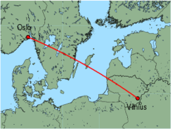 Map of route from Oslo (Torp) to Vilnius