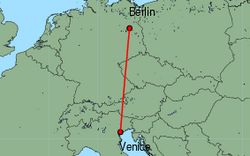 Map of route from Berlin(Tegel) to Venice(MarcoPolo)