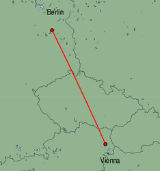Map of route from Vienna to Berlin(Tegel)