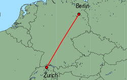 Map of route from Zurich to Berlin(Tegel)